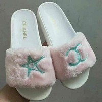 CHANEL Fur Slipper Shoes Sandals