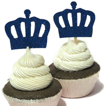 Royal Prince Cupcake Toppers, Navy Crowns, Ready in 3 to 5 Weekdays, Blue, King, Fathers Day, Babys First Birthday, Boys Baby Shower