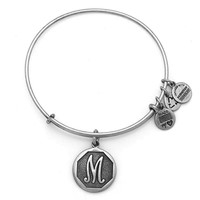 Alex and Ani Initial M Charm Bangle Bracelet - Rafaelian Silver Finish