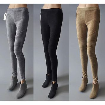 Original Design Spring Autumn Women Vintage Slim Suede Ribbed Pants Skin Faux Leather Skinny Pleated Trousers