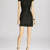 HALSTON HERITAGE Cap Sleeve Structured Cutout Back Dress