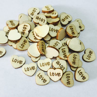 100pcs/lot LOVE Rustic Wooden Wood Hearts,  Wedding Table Scatter