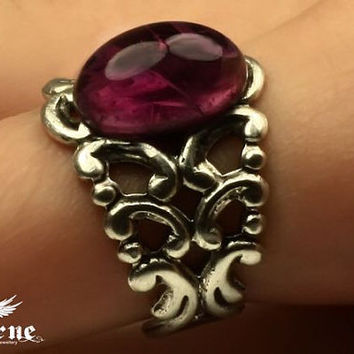 Gothic Ring with Amethyst Purple Stone - Silver Plated Ornate Ring - Victorian Gothic Jewelry