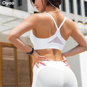 Oyoo Shakeproof High Impact Sports Bra Sexy Mesh Patchwork Gym Fitness Crop Top White Sport Clothes For Women
