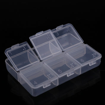New Mini Portable Empty Braille 6 Cells Pill Medicine Drug Storage Case Box