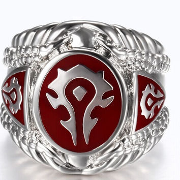 1 pc Red Black Color Fashion Jewelry World of Warcraft 316L Stainless Steel Hot WOW Ring