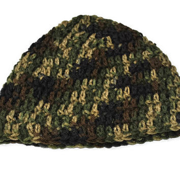 Crochet Mens Hat, Camo Mens Hat, Hunting Hat, Snowboarding Hat, Skiing Hat, Fathers Day Gift, Mens Camo Beanie, Brown and Green Hat