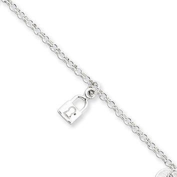 Sterling Silver Lock and Key Charm Anklet, 10 Inch