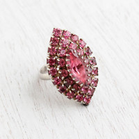 Vintage Pink Rhinestone Ring - 1960s Adjustable Silver Tone Cocktail Ring Costume Jewelry / Pink Marquise Cluster