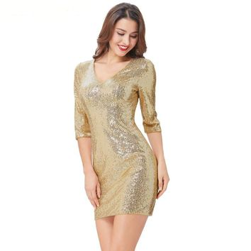 Sequins Short Dresses Knee Length Bodycon Cocktail Party Dress