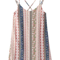 Multicolor Folk Stripe Print Strap Detail Open Back Shift Dress