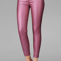 The Crop Skinny In Metallic Coated Pink  | 7 For All Mankind