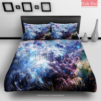 Blue Galaxy Cloud Bedding sets Home & Living Wedding Gifts Wedding Idea Twin Full Queen King Quilt Cover Duvet Cover Flat Sheet Pillowcase Pillow Cover 028