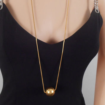 Anne Klein Necklace Gold Rope - Necklace Gold Chain - Gold Globe Ball Charm - 17 Inches long - Free US Shipping