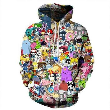 Harajuku Anime Cartoon Hoodies Adventure Time/Totoro/ Kawaii Clothes 3D Hooded Sweatshirt Sudaderas Mujer 2018 NewKawaii Pokemon go  AT_89_9
