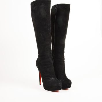 DCCK Christian Louboutin Black Suede High Heel  Bianca Botta 140  Tall Boots