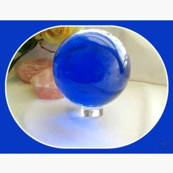 Vibrant Blue Quartz Healing Sphere & Stand 80mm