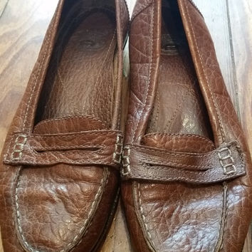 Etienne Aigner moc croc brown leather shoes size 7