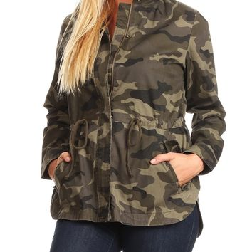 LE3NO Womens Long Sleeve Camo Print Military Parka Anorak Jacket with Hoodie