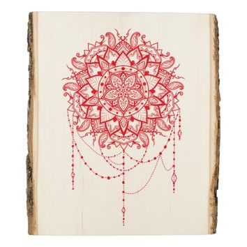 Muladhara Root Chakra Red Mandala Wood Panel