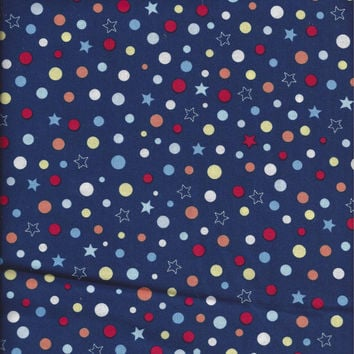 Three Fourth Yard Plus Cut of Polka Dot and Stars Cotton Quilting Fabric, Navy Background with Red, Yellow, Orange, Blue, White