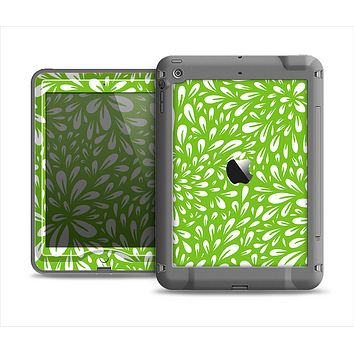The Light Green & White Floral Sprout Apple iPad Air LifeProof Nuud Case Skin Set