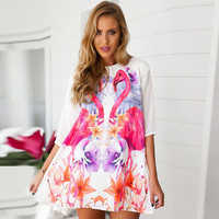 Flamingo Half Sleeve Loose Mini Dress