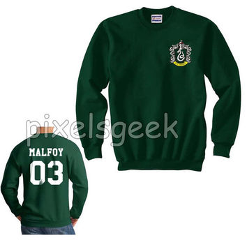 Slytherin crest on front Malfoy 03 on back Unisex Crewneck Sweatshirt