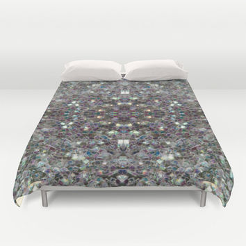 Sparkly colourful silver mosaic mandala Duvet Cover by PLdesign