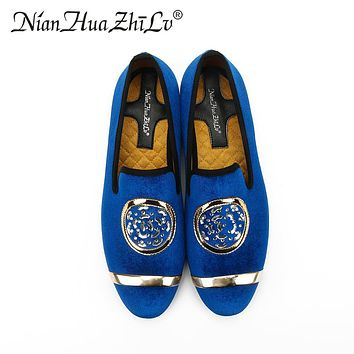 New Fashion Men Velvet Dress Loafers men's  classic Casual Shoes Gold Top and Metal Toe  Handmade luxurious flats