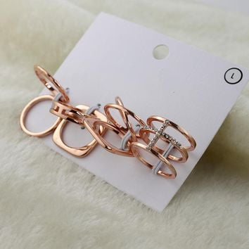 Special offer Japan and South Korea jewelry Korean version of the simple hollow diamond ring female rose gold alloy ring wild jewelry LE