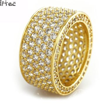 Iftec Shiny! Mens Hip Hop Cz Ring Gold Silver Iced Out Bling Aaa Zircon Rhinestone Crystal Copper