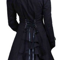 Black - Classic Cotton Victorian Gothic Steam Punk Vampire Corset Riding Jacket Coat Size 6
