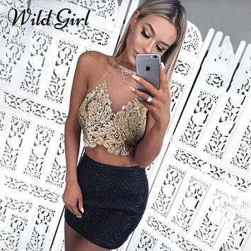 Glamaker Embroidery transparent camisole tank top Women summer sexy crop top Lace up backless gold party club top female cami