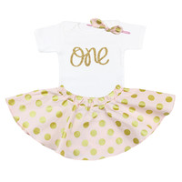 First Birthday  One Outfit with Twirl Skirt and Hair Bow, Pink and Gold Polka Dot Birthday Outfit, 1st birthday outfit