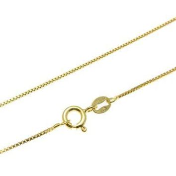 "1MM ITALIAN YELLOW GOLD ON SILVER 925 BOX CHAIN NECKLACE 16"",18"",20"",22"",24"""