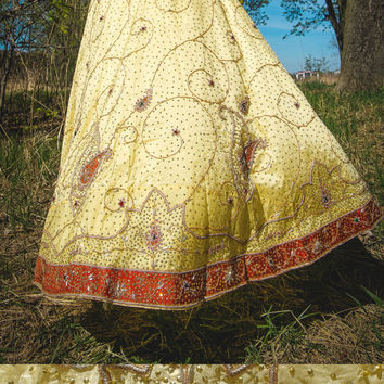 Vintage unique yellow beaded, embroidered, jeweled full circle,bell ,maxi ball skirt / Hand Crafted India, Bollywood Wedding Lehenga / Gypsy