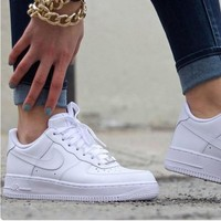 NIKE Women Men Running Sport Casual Shoes Sneakers Air force White-5