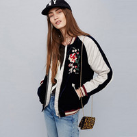 Women Silky & Velvet Spliced Bomber Jacket Floral Embroidered Bomber Jackets Contrast color Coat Pilots Outerwear