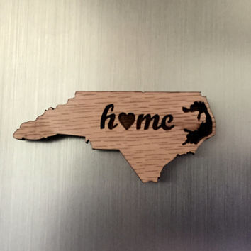 North Carolina State Shape Wooden Magnet
