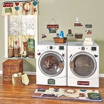 Laundry Room Decor Wall Plaque Curtains Rug Wash Day Country Primitive NEW