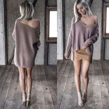 V-neck  strapless irregular sweater B0015603