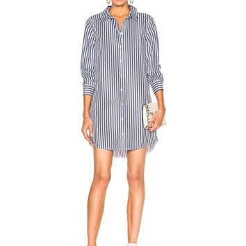 Equipment Carmine Dress in Bright White & Atlantic Deep | FWRD