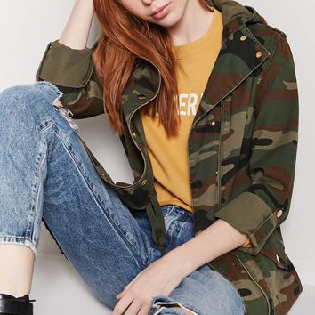 Camo Button-Front Jacket