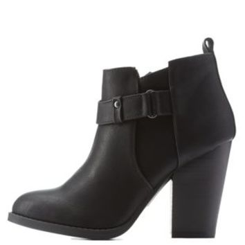 Black Belted Chunky Heel Ankle Booties by Charlotte Russe