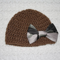 Brown and Satin Camo Bow Hat Little Hunting Girl Beanie Camo Baby Hat Baby Shower