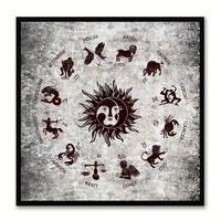 Sun Constellation Horoscope Black Canvas Print Black Custom Frame Home Decor Wall Art