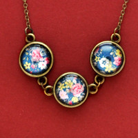 Three Pendant Shabby Chic Pink Flowers Necklace, Glass Dome Cabochons Chain Necklace