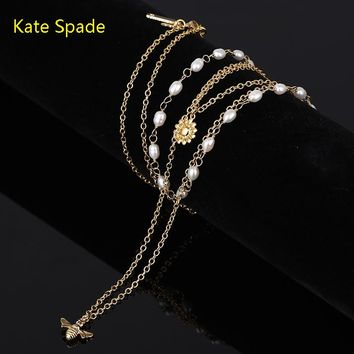 Kate Spade High quality new fashion more pearl bee floral pendant necklace women Gold