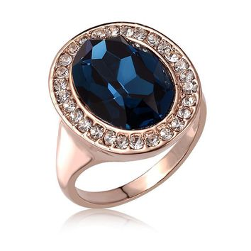 """ON SALE - """"Rhapsody in Blue"""" Classic Oval Sapphire Blue and Diamond Austrian Crystal Halo Cocktail Ring"""